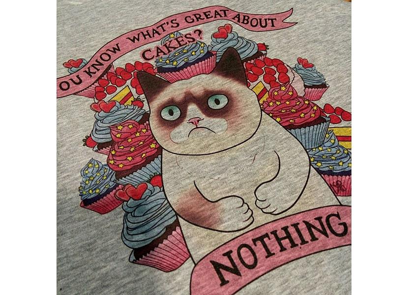 Картинка с изображением кота на футболке, нанесенным с помощью прямой печати