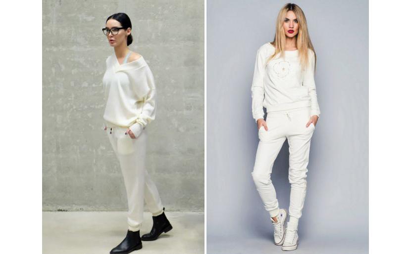 Фото луков с женскими белыми толстовками и спортивными штанами